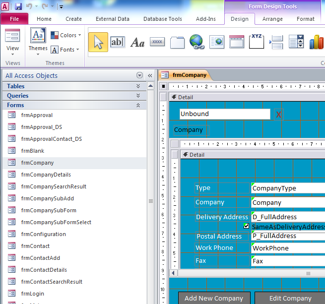 Microsoft access Custom Application design